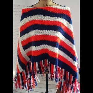 VINTAGE CROCHET KNITTED SHAWL RED WHITE BLUE
